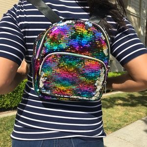 NEW W/ TAGS RAINBOW SEQUIN BACKPACK
